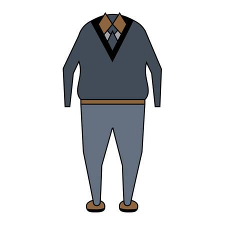 Ropa casual para un hombre mayor sobre fondo blanco ilustración vectorial de diseño colorido Foto de archivo - 90146832