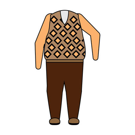 Casual clothes for a senior man over white background colorful design vector illustration Çizim