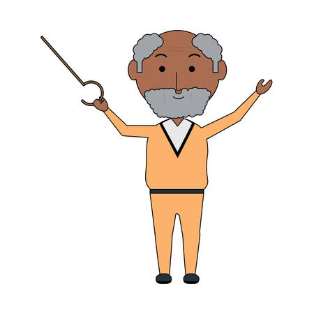 elderly man with a walking stick icon over white background colorful design vector illustration Illustration