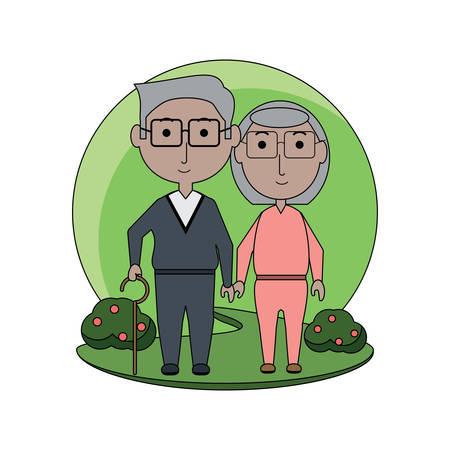 Cartoon elderly couple icon 向量圖像