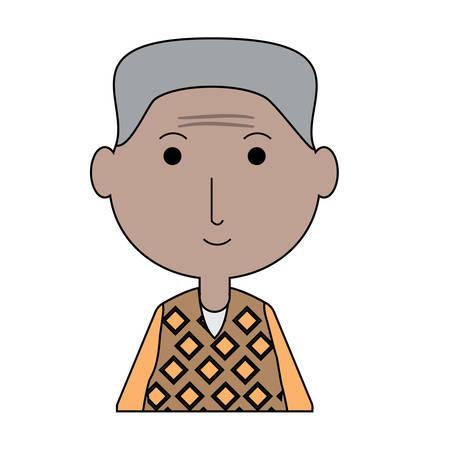 Cartoon elderly man icon