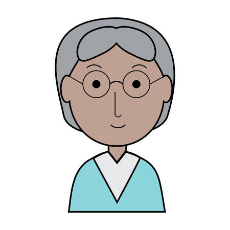 Cartoon elderly woman icon Illustration