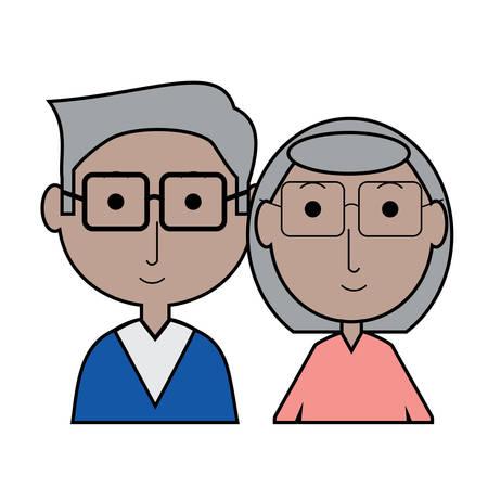 cartoon eldery couple icon over white background colorful design vector illustration