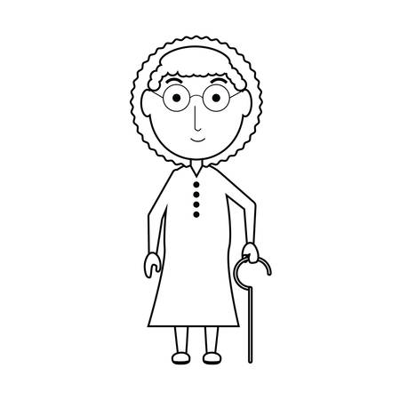cartoon elderly woman with a walking stick icon over white background vector illustration