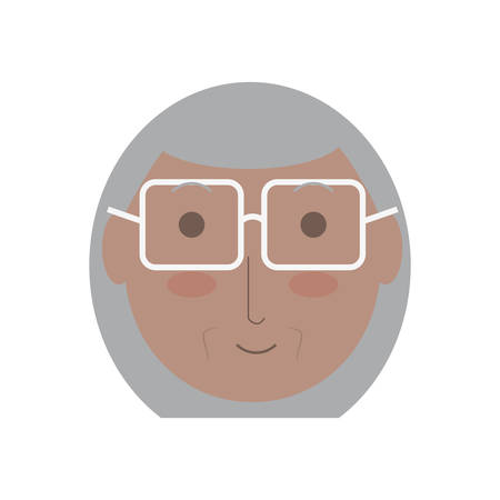 cartoon elderly woman face icon over white background colorful design vector illustration Illustration