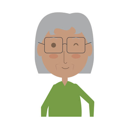 cartoon elderly woman icon over white background colorful design vector illustration