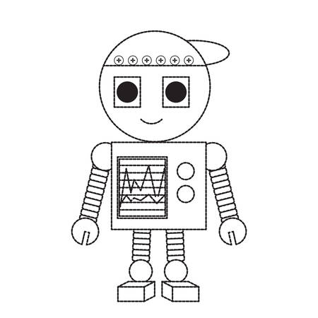 cartoon robot icon over white background black and white design vector illustration Ilustração