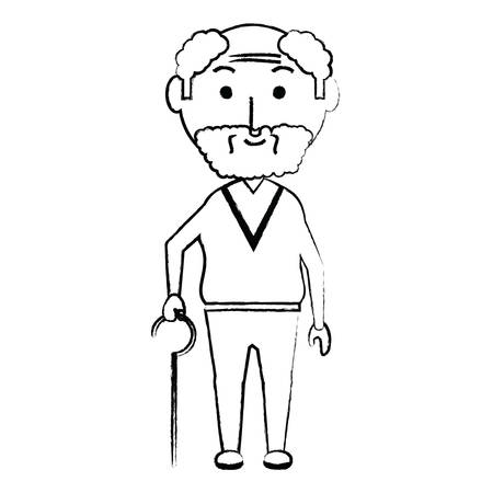 elderly man with a walking stick icon over white background vector illustration