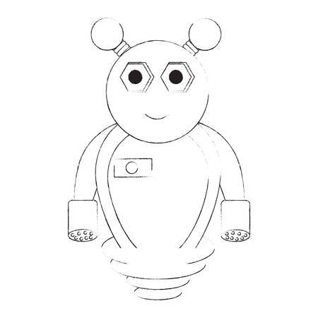 cartoon robot icon over white background black and white design vector illustration Illustration