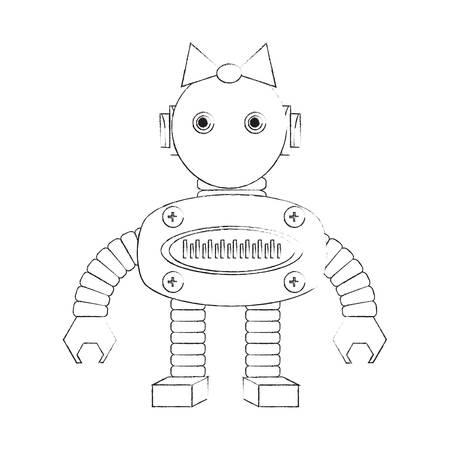 cartoon robot girl icon over white background vector illustration Illustration