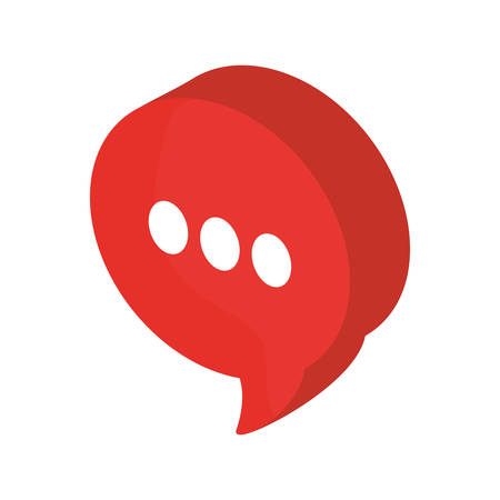 isometric speech bubble with three dots icon over white background colorful design vector illustration