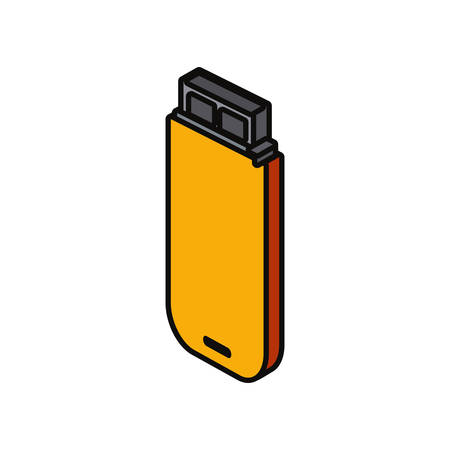 USB flash drive icon over white background colorful design  vector illustration