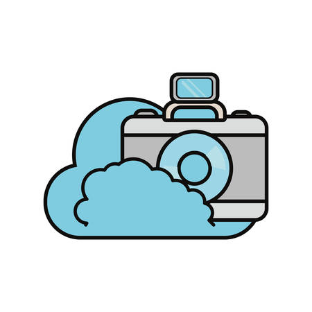 cloud with photographic camera icon over white background colorful design vector illustration