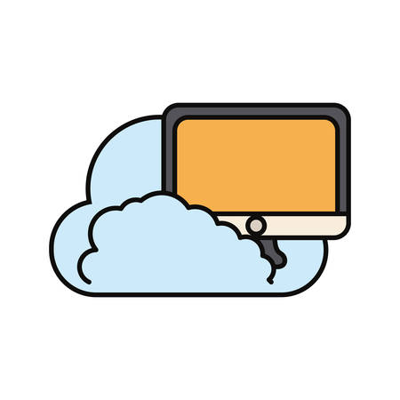 cloud with computer monitor icon over white background vector illustration Illustration