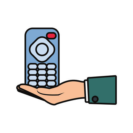 hand with Tv remote control icon over white background vector illustration