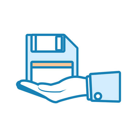 hand holding a floppy diskette icon over white background colorful design vector illustration