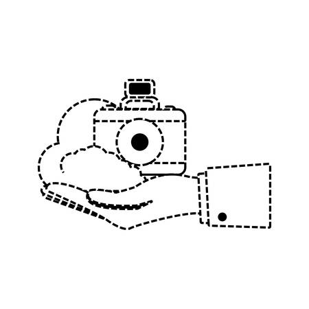 hand holding a photographic camera icon over white background vector illustration