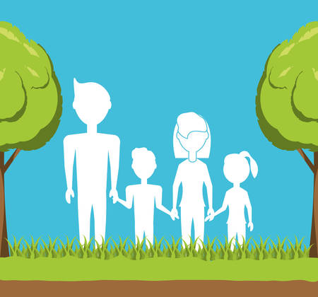 Enviroment design with trees growing with family  colorful design vector illustration Illustration