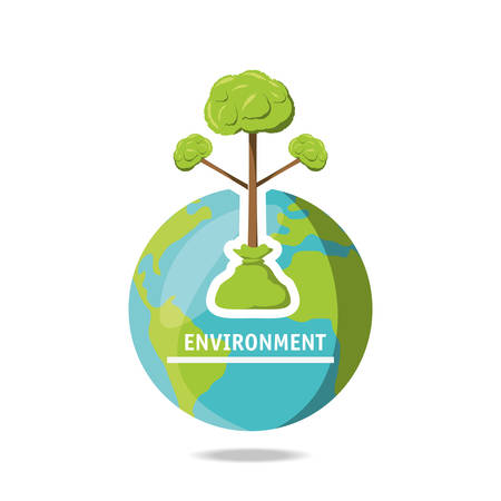 Enviroment design with earth planet icon and trees over white background vector illustration