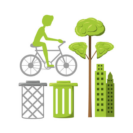 Enviroment design with trees growing , trash , buildings, and cycling person colorful design vector illustration Illustration