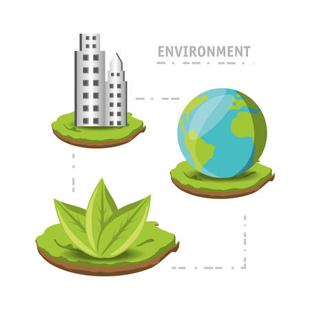 Enviroment design with trees growing , earth and buildings in city colorful design vector illustration