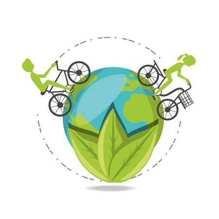 Enviroment design with trees people cycling in earth growing colorful design vector illustration