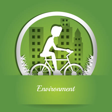 Enviroment design with trees growing and cycling person in city buildings  colorful design vector illustration Illustration