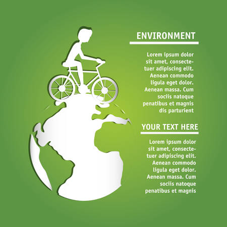 infographic presentation of enviroment concept with bicycle and earth planet colorful design vector  illustration