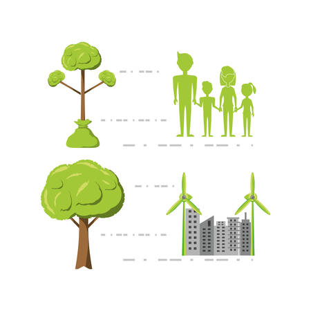 enviroment design with trees growing colorful design vector illustration