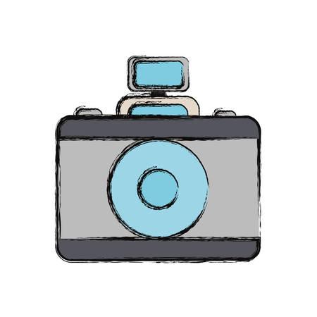 photographic camera device icon over white background colorful design vector illustration