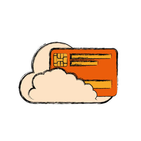 cloud with credit card icon over white background vector illustration
