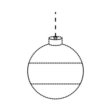 flat lien uncolored christmas ball sticker  over white background  vector illustration