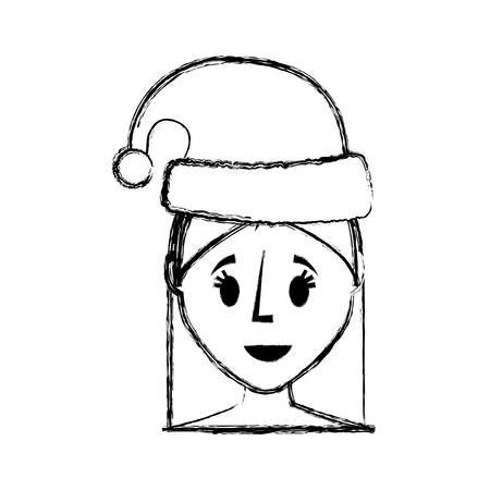 flat lien uncolored woman face with santa hat over white background  vector illustration Illustration