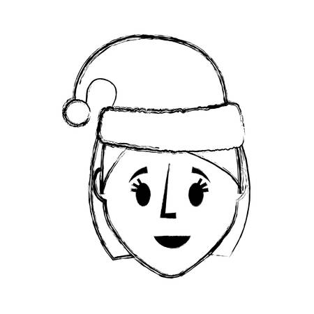 flat lien uncolored woman face with santa hat over white background  vector illustration Stock Vector - 90229952
