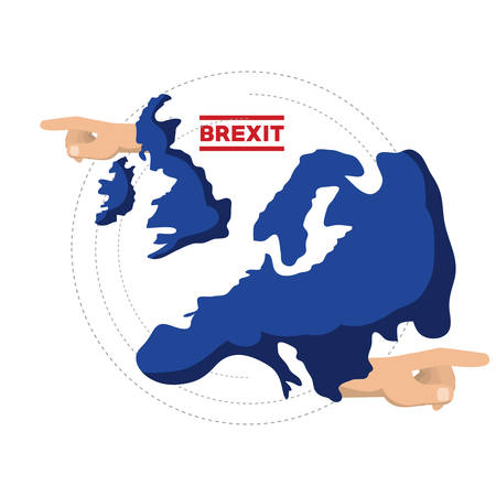 brexit design with united kingdom map and hand pointings over white background vector illustration