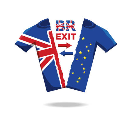 brexit design with t shirt with half of united kingdom flag and half of union european flag over white background vector illustration