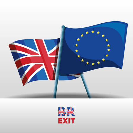 brexit design with united kingdom and  european union flags over white background vector illustration