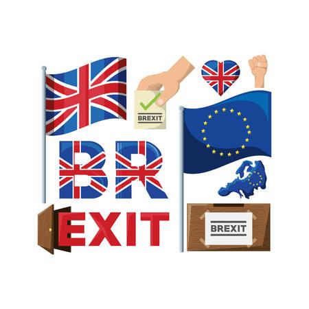 brexit referendum related icons over white background colorful design vector illustration Illustration