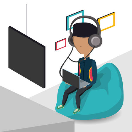young man with headphones and laptop computer sitting on a bean bag chair icon colorful design vector illustration