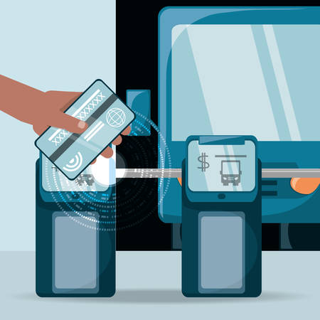 NFC technology design with hand holding a bus pass near a smartgate. colorful design vector illustration Illustration