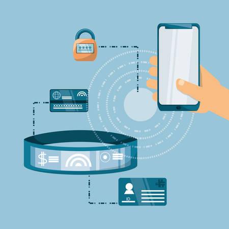 Dispositivos tecnológicos con tecnología NFC alrededor sobre ilustración de vector de diseño colorido fondo azul Ilustración de vector