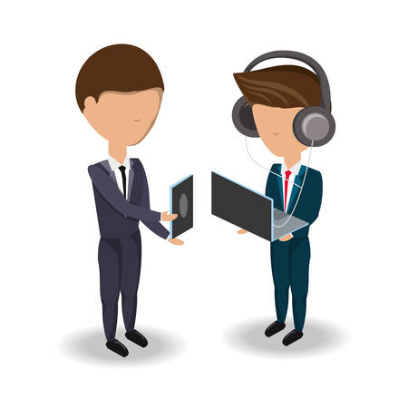 avatar businessmen standing using technology devices over white background colorful design vector illustration