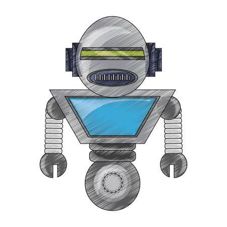 pequeño icono de robot de dibujos animados sobre fondo blanco ilustración de vector de diseño colorido
