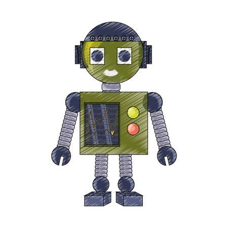 icono de gran robot de dibujos animados sobre fondo blanco ilustración de vector de diseño colorido