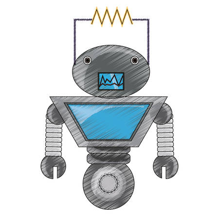 cartoon big robot icon over white background colorful design vector illustration