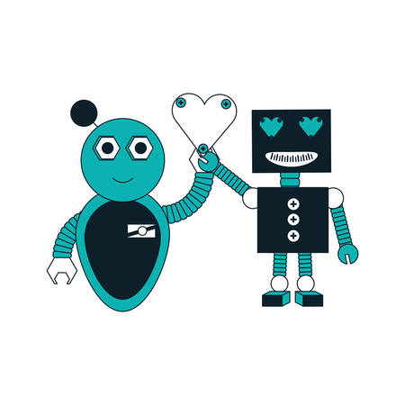 cartoon robots couple with  heart icon over white background colorful design vector illustration