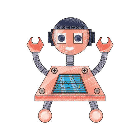 cartoon little robot smiling icon over white background colorful design vector illustration