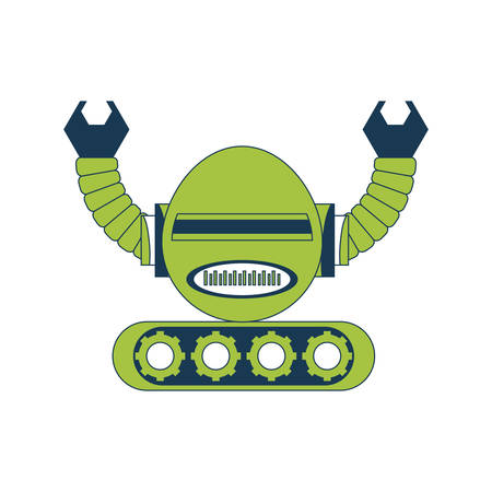 cartoon little robot icon over white background colorful design vector illustration