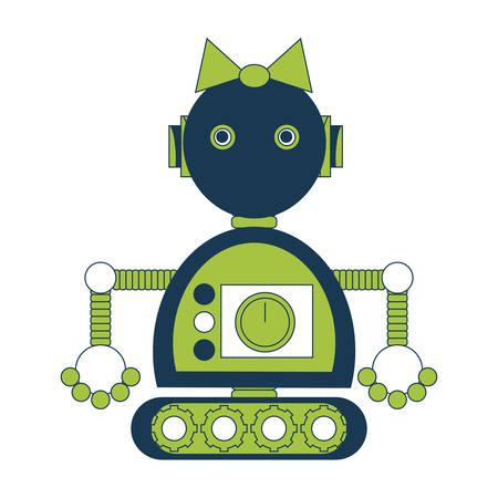 icono de chica robot de dibujos animados sobre fondo blanco ilustración de vector de diseño colorido Vectores