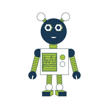 icono de robot feliz de dibujos animados sobre fondo blanco ilustración de vector de diseño colorido Vectores